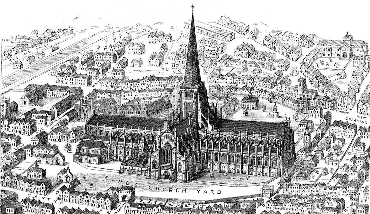 Ilustración de la antigua catedral de Sant Paul